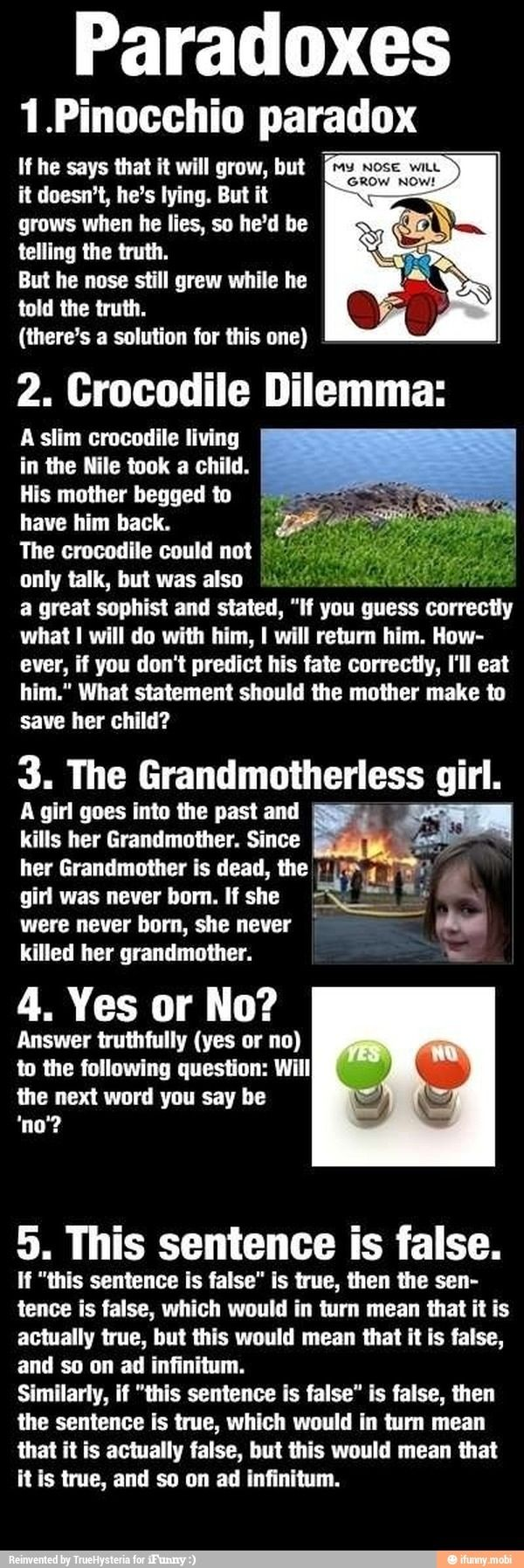 *blinks* Okay the Crocodile Dilemma makes sense, and the Yes No one... and the Grand motherless Child one... but the others... sheeeessshhh