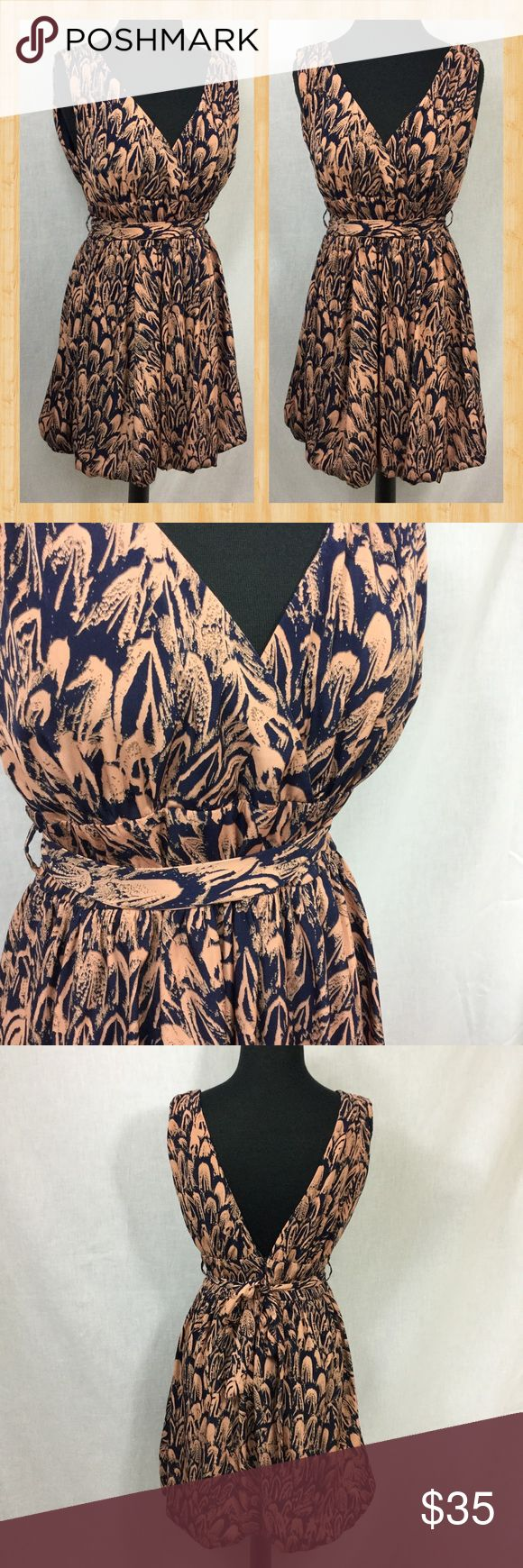"Apricot Lane Dress Ya Los Angeles dress purchased from Apricot Lane.  Elastic slight bubble bottom.  Removable belt.  Deep V back.  Navy & salmon color.  Laying flat: armpit to armpit 15""... pulled to 18"" comfortably, waist 15"", length 33"". Ya Los Angeles Dresses"