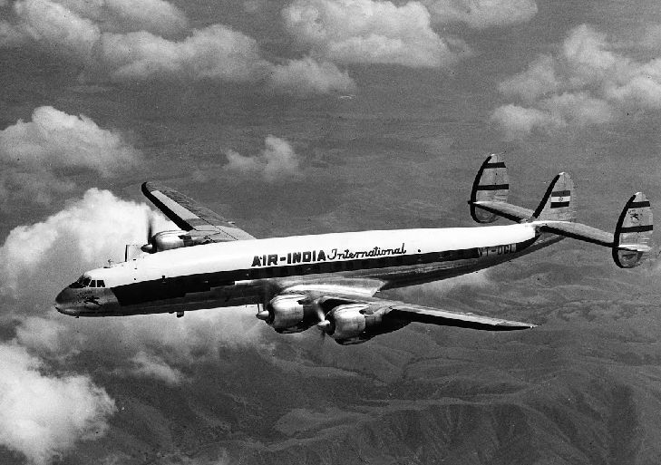 A 1950 photograph of Air India International Constellation aircraft, L-1049C (VT-DGL). #photograph #print #airindia #airways #airplane #aircraft #incredibleindia #travel