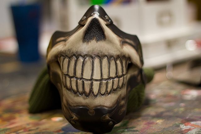 Toothy Skull Handmade Leather Motorcycle Mask