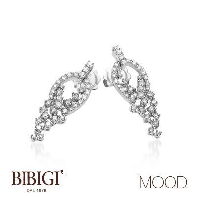 #Bibigì #mood Orecchini in oro bianco, brillanti gray e diamanti. Più retrò o più classica, Mood propone le versioni in oro rosso e oro bianco per qualsiasi stato d'animo.