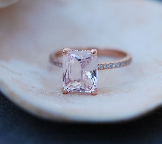 Blake Lively ring Peach Sapphire Engagement Ring emerald cut 14k rose gold diamond ring 3ct sapphire ring