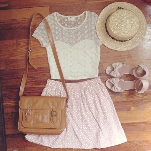 Gorgeous small dots printed skirts with top white lace blouse and matching bow high heels sandals and brown leather hand bag and top beach hat the best summer outfits