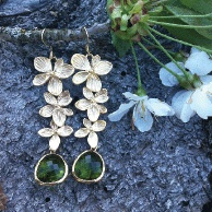 Earrings. Cherry blossom findings and forrest green stones.
