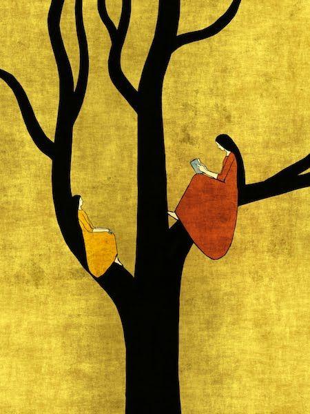Readers in trees by Toni Demuro