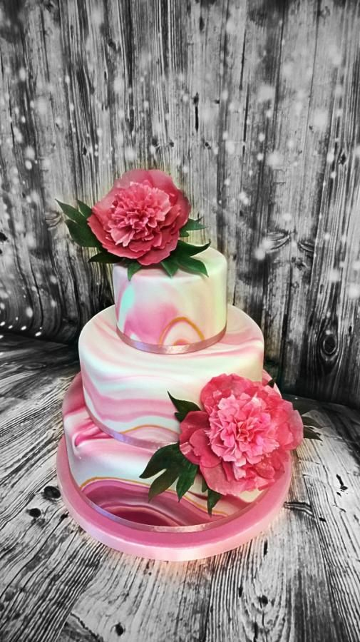 Wedding cake with peonies by trbuch - http://cakesdecor.com/cakes/292351-wedding-cake-with-peonies
