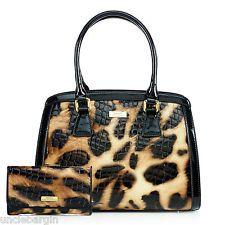 Serenade Lynx Gloss Cheetah Croc Leather Handbag & Wallet Set (SH54-7511)