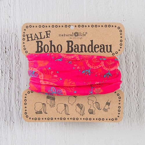 We have Half Boho Bandeaus! These boho bandeaus feature half the fabric and can be worn 7 different ways! This half boho bandeau is pink, turquoise, and red. Wrap around your head, neck, ponytail, wrist, or wear as a fun summer top!