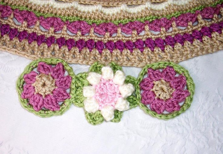 This shows the pink flowers, the pattern for the center flower of the mandala, before I added leaves to attach them to the mandala and the white flower.