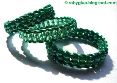 RobyGiup Handmade: Tris di anelli in perline verdi - Three rings in green beads #ring #green #beads