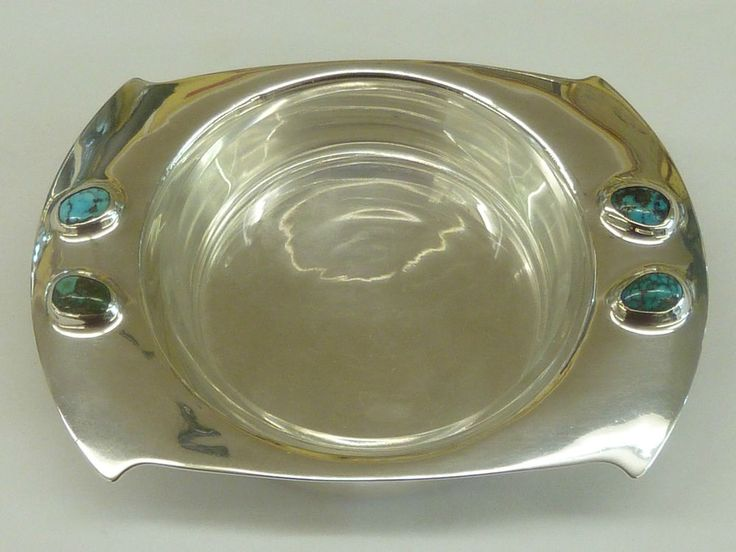 Archibald Knox Art Nouveau Cymric Solid Silver Dish Glass Turquoise Liberty & Co #LibertyCo