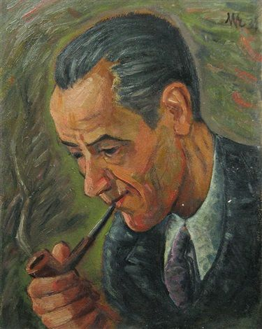 Man with Pipe by Hans Eder
