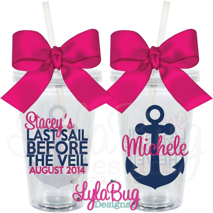 Bachelorette Cruise Party Tumblers! Last Sail Before the Veil. Super cute party favors that can be filled with hangover kits, used all night long with no drink spills and be a long lasting reminder of your cruise with the girls!