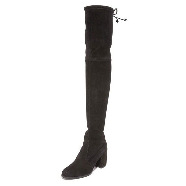 Stuart Weitzman Tieland Over the Knee Boots (2,940 AED) ❤ liked on Polyvore featuring shoes, boots, black, black over-the-knee boots, black boots, over-knee boots, stretch over the knee boots and thigh high leather boots