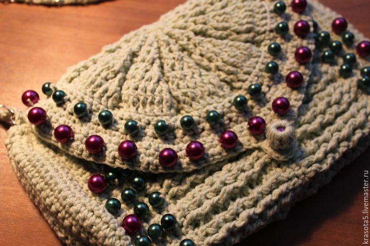 Купить Сумочка - разноцветный, клатч, косметичка, сумочка, крючком, вязаный, расшитый, бусины, пряжа, бусины