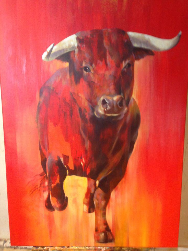 Bull in red
