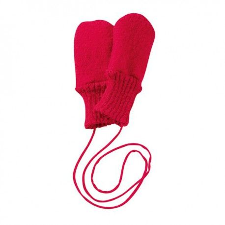 Wool mittens red, Disana