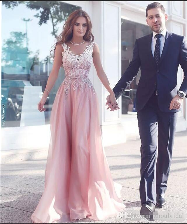 2017 Mhamad V Neck Prom Dresses A Line Organza Appliques African Evening Dresses Long Floor Length Special Occasion Dresses Party Gowns Original Prom Dresses Petite Prom Dress From Zhoubridal, $119.6| Dhgate.Com