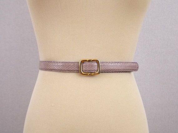 Ceinture de maintien Snakeskin lavande - 80 s Purple Cinch Belt - ceinture Skinny Vintage des années 80