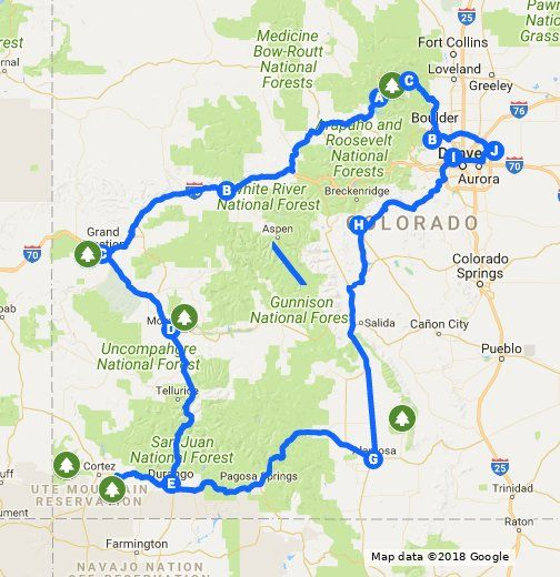 Colorado Road Trip Map Pin by galeandre on Colorado in 2019 | Road trip to colorado, Road