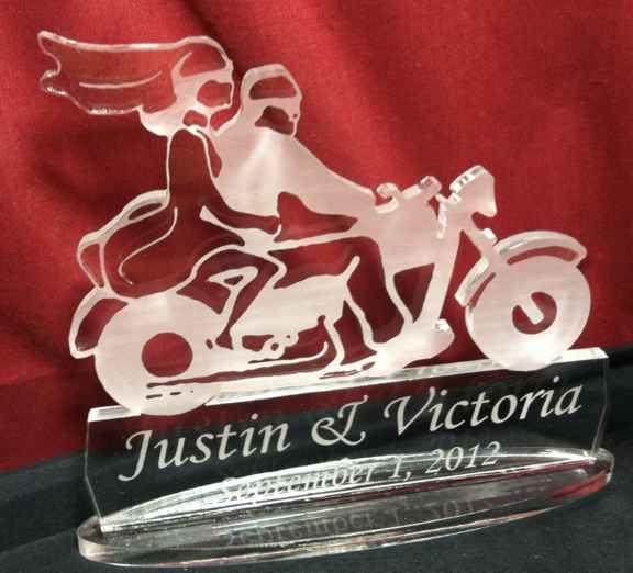 Motorcycle Wedding Cake Topper Bride Groom Riding Engraved