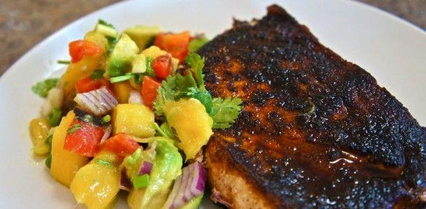 Blackened Swordfish with Mango Avocado Salsa, perfect summer dinner!