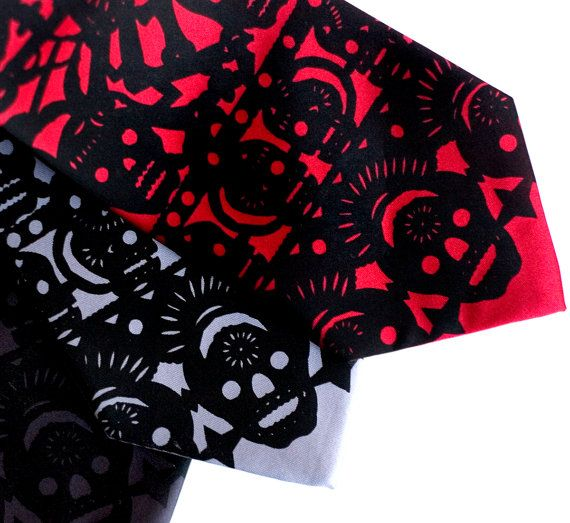 Papel picado screenprinted microfiber necktie. Dia de los Muertos. Black ink. Choose standard or narrow.