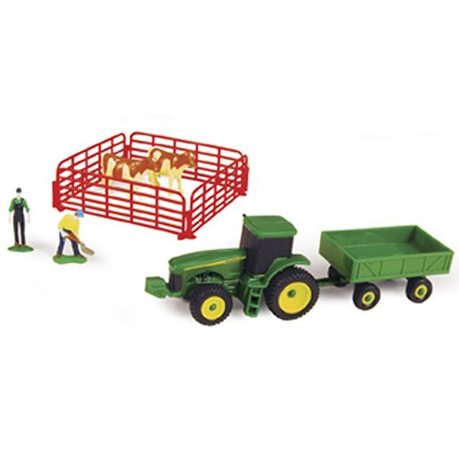 John Deere Farm Set With Barge Wagon & Guernsey Cows