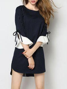 Blue Polyester Ruffled Frill Sleeve Crew Neck Mini Dress