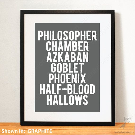 Harry Potter Poster, Book Titles, Minimal Typography Art Print, Boys bedroom decor, wall for boys room, nursery wall decor,