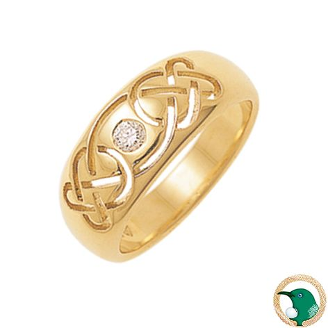 Our ladies Promise Diamond Celtic ring in 18ct yellow gold featuring a pierced Celtic weave design and one .12ct punch-set diamond.