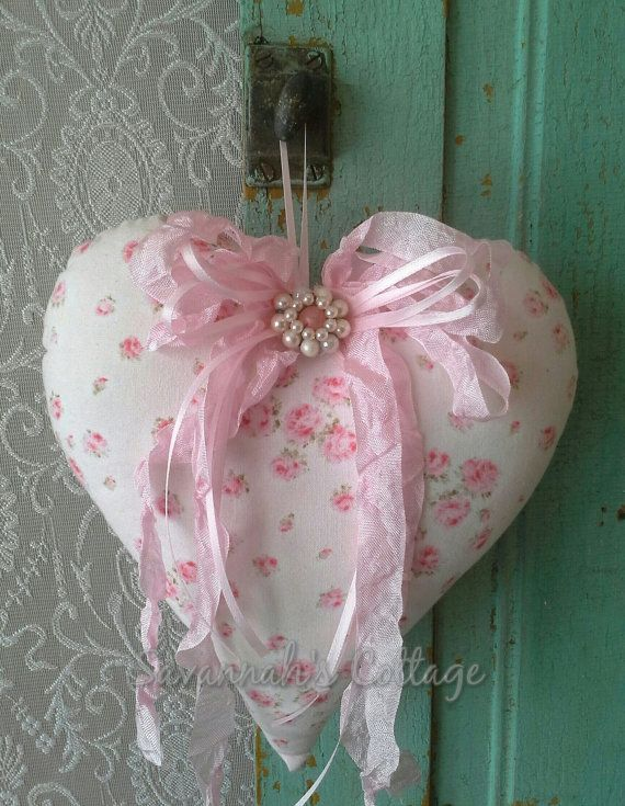 Pink Heart Fabric Heart Heart pillow Nursery by SavannahsCottage