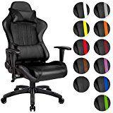 TecTake Chaise fauteuil siège de bureau racing sport ergonomique avec support lombaire et coussin - diverses couleurs au choix - (Noir Noir   No. 402229)