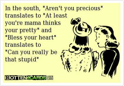 """In the south, """"Aren't you precious"""" translates to """"At least you're mama thinks your pretty"""" and """"Bless your heart"""" translates to """"Can you really be that stupid"""""""
