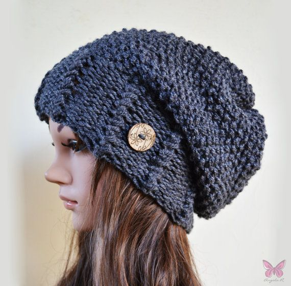 Slouchy beanie hat with button - MARENGO GREY - Oversized - chunky - handmade - vegan friendly - baggy
