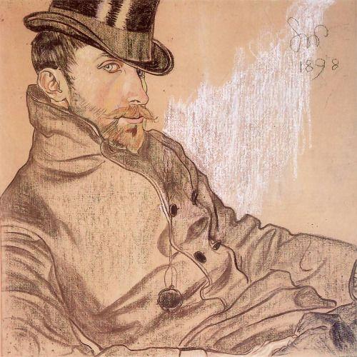 """Top hat ☑️ pocket watch ☑️ side eye☑️ Stanislaw Wyspianski's """"Portrait of Kazimierz Lewandowski"""""""