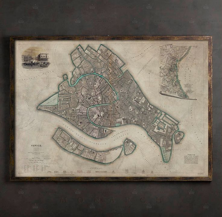 OLD VENICE MAP Italy Print Large Wall