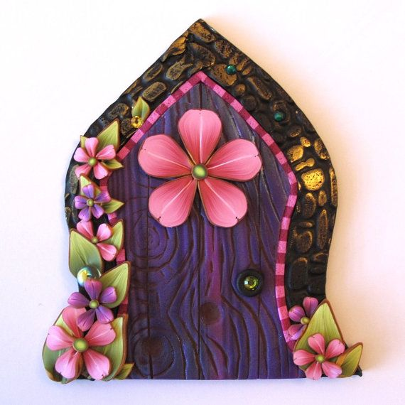 Pink flower fairy door pixie portal fairy garden decor for Pink fairy door