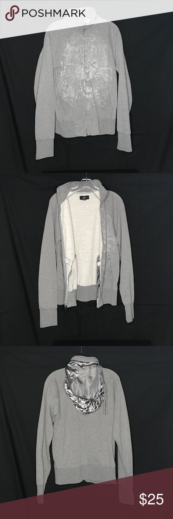 Obey Tiger Face Grey Zip Up Hoodie Sweater sz. S Used condition with plenty of wear left Zip Up Hoodie with a pouch for the hood No rips or stains Obey Sweaters Zip Up