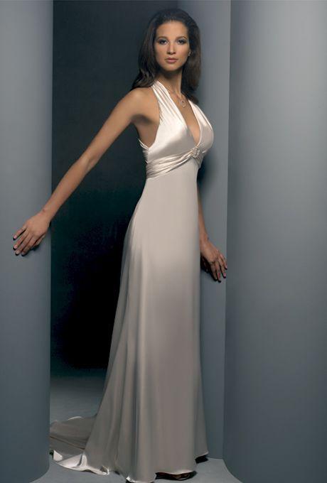 Demetrios - Destination Romance. Satin charmeuse halter dress.� Features empire bodices and criss-cross open back.