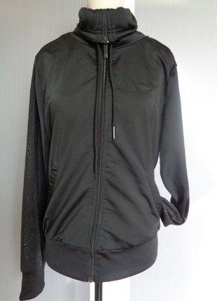 À vendre sur #vintedfrance ! http://www.vinted.fr/mode-femmes/autres-manteaux-and-vestes/30589652-veste-blouson-noir-adidas-a-strass-neuve-qui-convient-a-taille-34-36-et-38