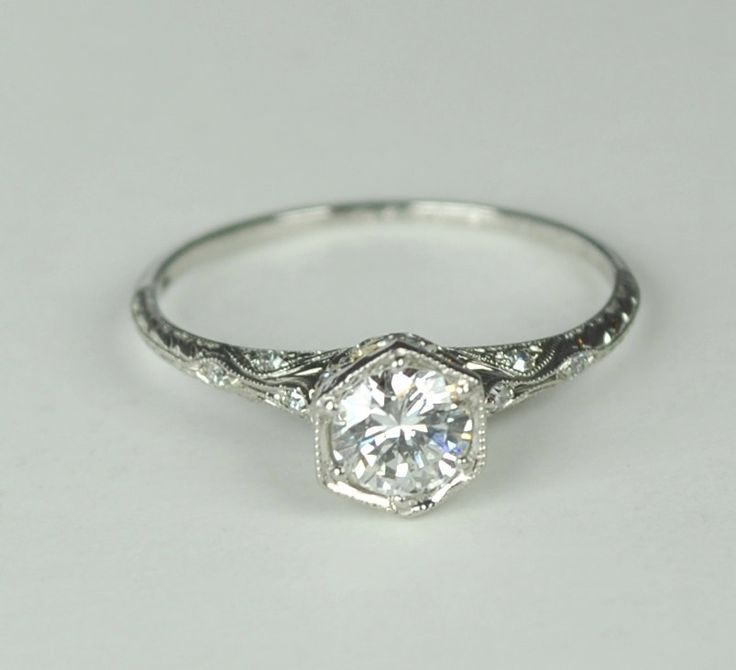 Simply Elegant Art Deco Engagement RIng
