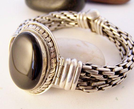 Estate Vintage Black Onyx Bracelet - Sterling Silver Double Strand Bracelet. StoneStreetStudio