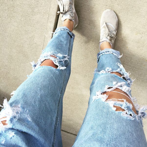 custom ripped jeans all sizes high waisted ripped boyfriend jeans ($45) ❤ liked on Polyvore featuring jeans