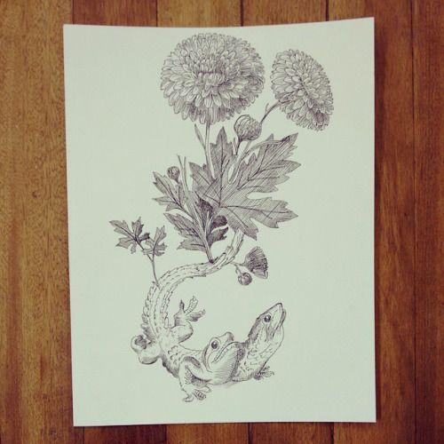 """De la serie """" Original Vs Copia: """" Historias de lagartos y de flores """" """". #drawing #lizard #flower #ink #art #Himallineishon"""