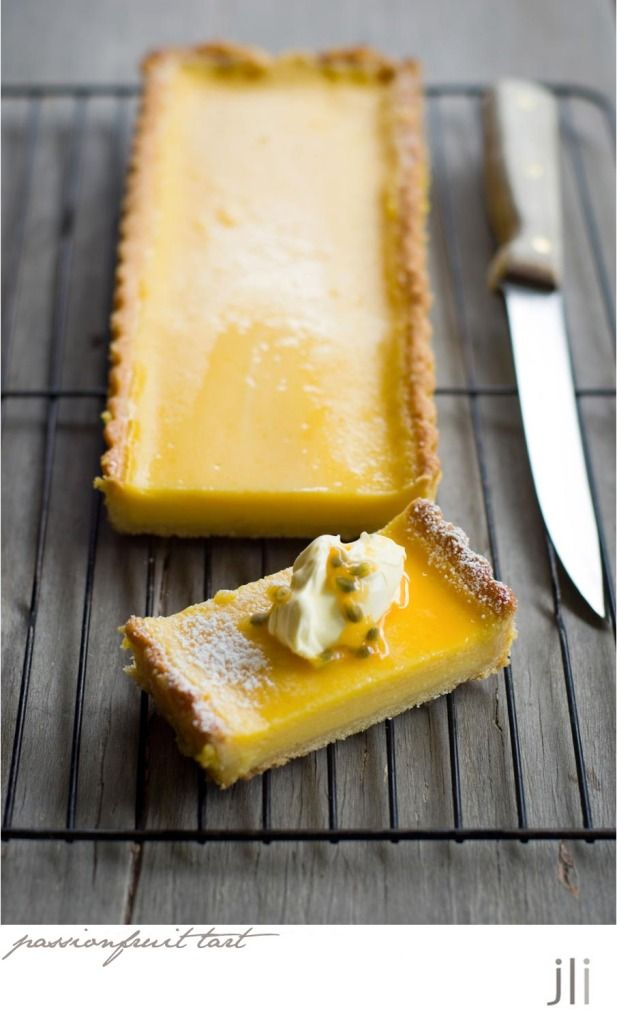 passionfruit and lemon tart by Jillian Leiboff :: To make a passionfruit tart, instead of 90 mls of lemon juice I used 70 mls of passion fruit juice and 20 mls of lemon juice.
