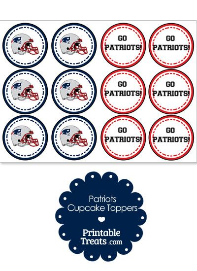 New England Patriots Cupcake Toppers from PrintableTreats.com