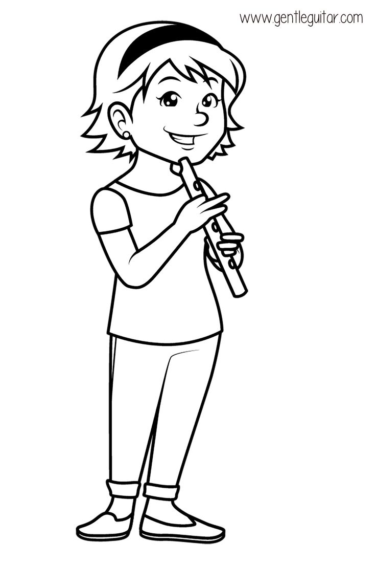 Coloring a girl playing a flute. Coloring prepares