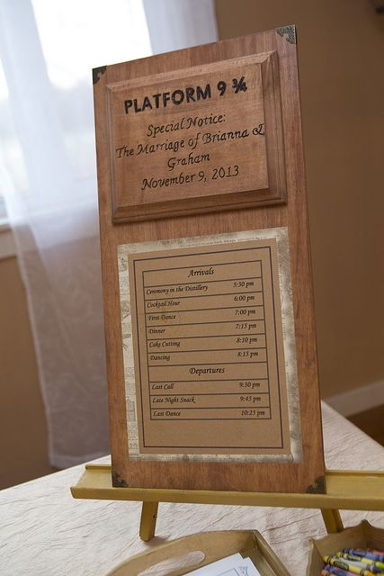 Platform 9 3/4 Harry Potter wedding plaque, schedule of events as train schedule, wood sign from Etsy shop https://www.etsy.com/shop/WolfPackCrafts