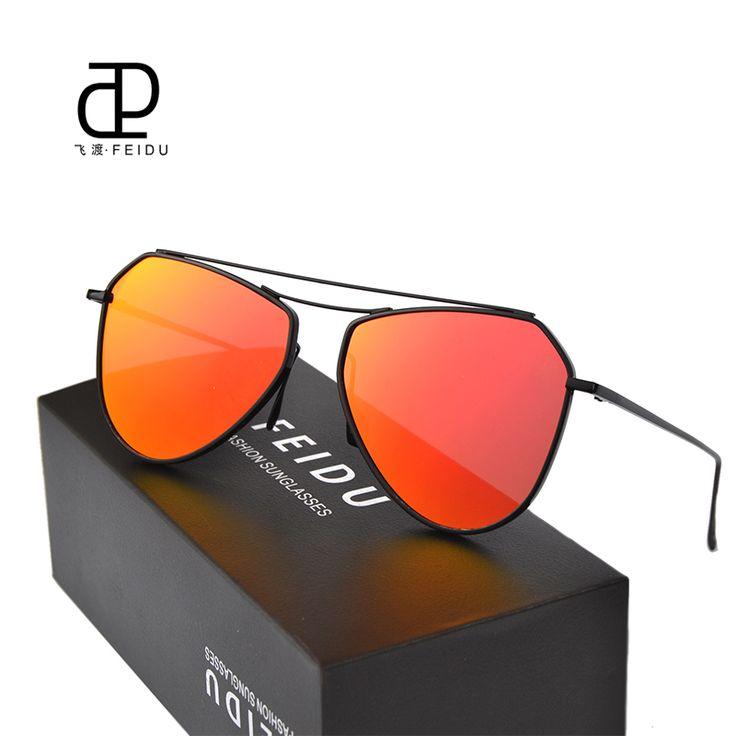 FEIDU Fashion Hot Selling Women Sunglasses Celebrity Same Paragraph Men Sunglasses Coating Polygon Coating Sun Glasses With Box